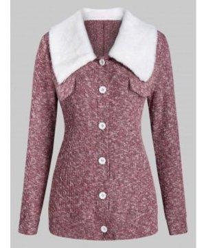 Heathered Faux Fur Collar Button Cardigan