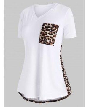 Leopard Panel Front Pocket V Neck Plus Size Tee