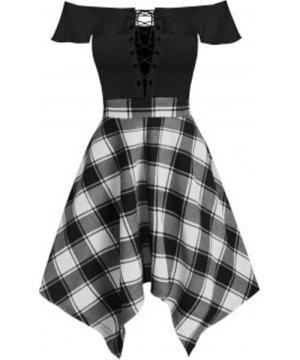 Handkerchief Off  Shoulder Lace Up Plaid Dress