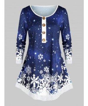 Mock Button Snowflake Print Christmas T Shirt