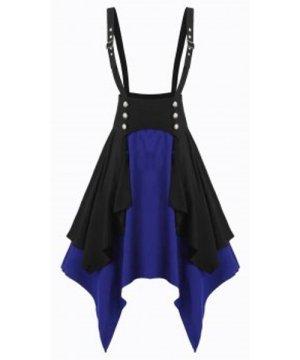 Contrast Layered Asymmetrical High Waist Suspender Skirt