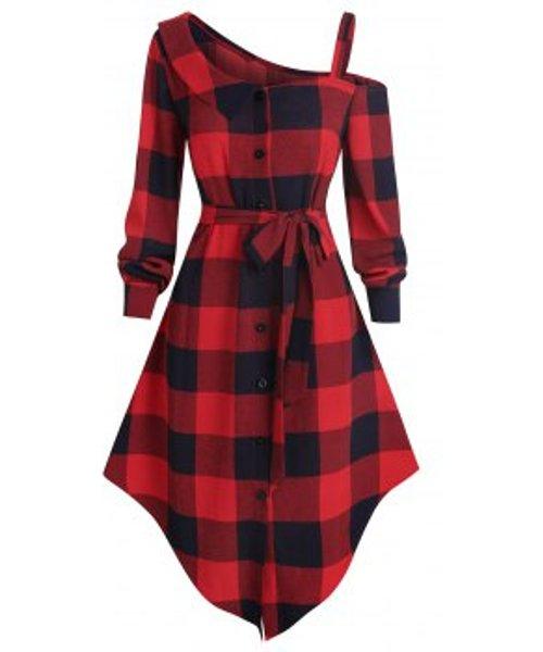 Asymmetric Skew Neck Plaid Dress
