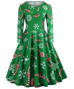Long Sleeve Plaid Heart Snowflake Elk Christmas Dress