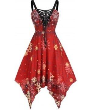 Plus Size Snowflake Print Handkerchief Dress