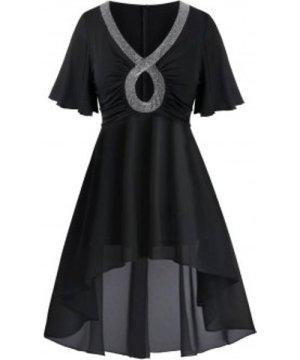 Plus Size Keyhole Glitter Trim High Low Dress