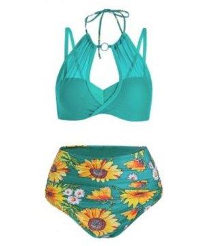 Sunflower Print Mesh Insert Bikini Swimwear