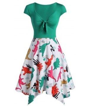 Knot Dinosaur Print Cap Sleeve Asymmetrical Dress