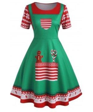 Plus Size Christmas 3D Print Flare Dress