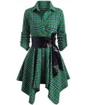 Plaid Belted Roll Up Sleeve Handkerchief Dress