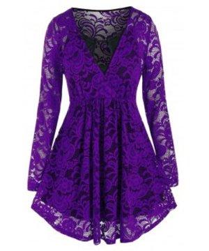 Plus Size Lace Surplice Blouse and Keyhole Camisole Set