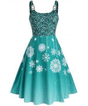 Plus Size Snowflake Print Christmas Midi Dress