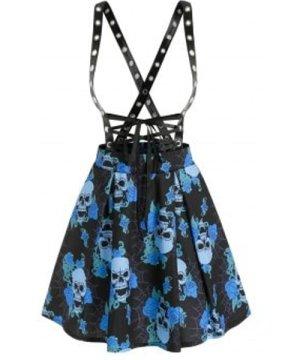 Floral Skull Print Grommet Strap Mini Suspender Skirt