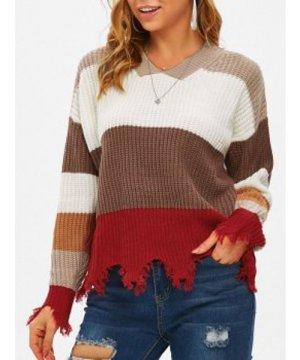 V Neck Frayed Hem Colorblock Sweater