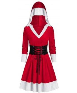 Christmas Hooded Velvet Lace Up Dress