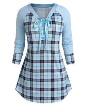 Plus Size Lace Up Plunge Plaid Sweatshirt