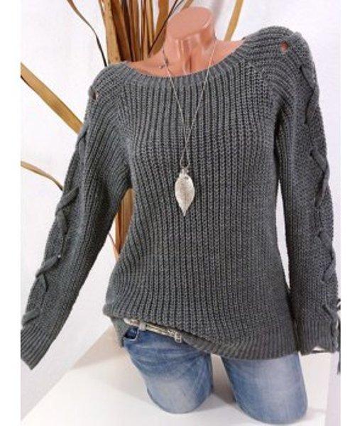 Plus Size Raglan Sleeve Lace Up Sweater