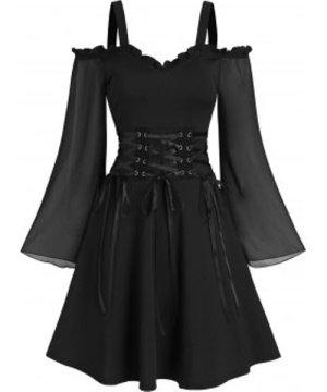 Open Shoulder Lace Up Ruffled Trim A Line Dress