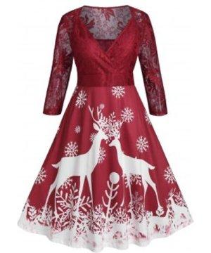 Plus Size Lace Sheer Christmas Snowflake A Line Dress