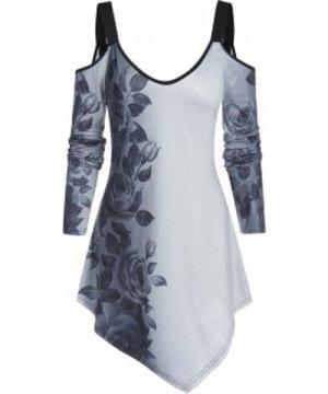 Open Shoulder Floral Print Longline T Shirt