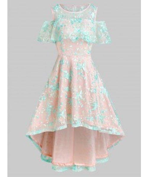 Open Shoulder Floral Lace Dip Hem Dress
