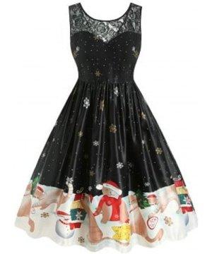 Plus Size Vintage Cat Snowflake Print Christmas Dress