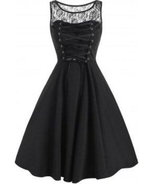 Lace Panel Lace-up Sleeveless Corset Dress