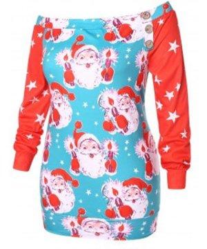 Plus Size Star and Santa Claus Print Sweatshirt