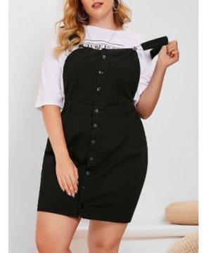 Plus Size Mini Pinafore Dress