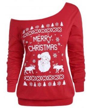 Plus Size Santa Claus Snowflake Print Skew Neck Christmas Sweatshirt