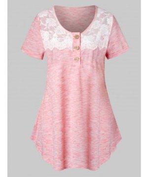 Plus Size Lace Insert Marled T Shirt