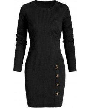 Mock Button Ribbed Sheath Dress
