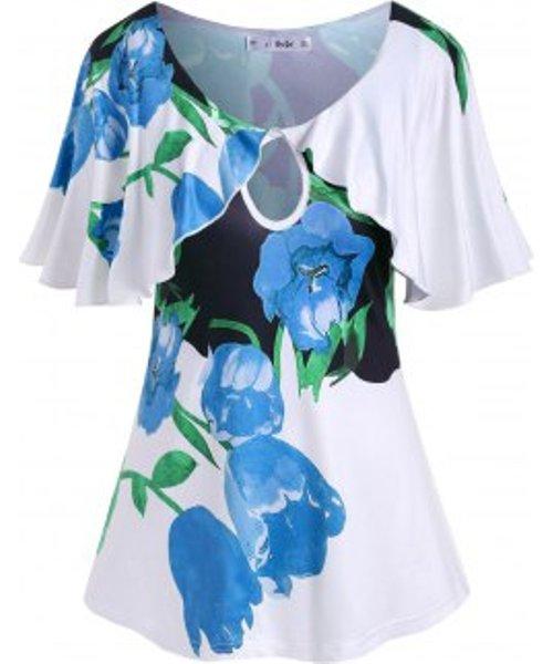 Plus Size Flutter Sleeve Keyhole Floral Print T Shirt