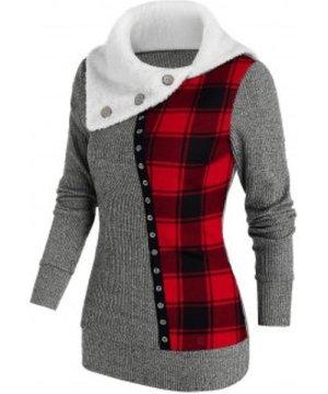 Plaid Patchwork Faux Fur Collar Knitwear