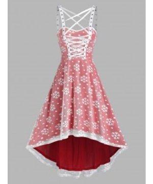 Christmas Snowflake Pattern Sleeveless High Low Lace Dress