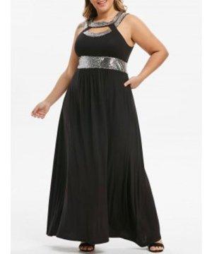 Plus Size Sequin Cut Out Maxi Party Dress