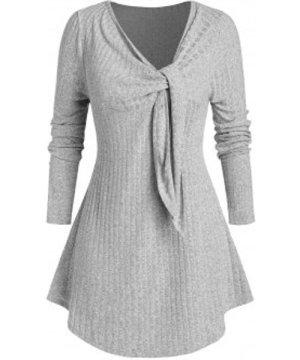 Plus Size Wide Rib Twist Long Sleeve Knitwear