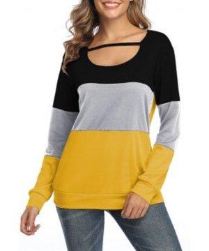 Casual Colorblock Long Sleeve Top