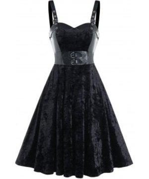 Buckle Strap Velvet Fabric Lace-up Sleeveless Dress