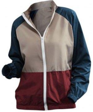 Raglan Sleeve Colorblock Windbreaker Jacket