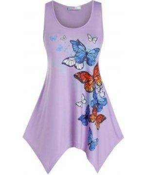 Plus Size Butterfly Pattern Hanky Hem Tank Top