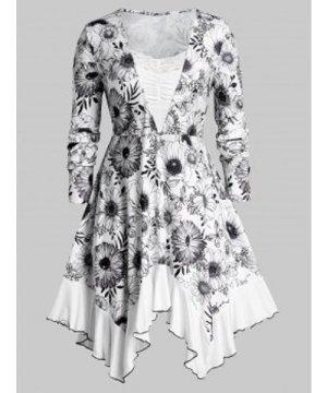 Plus Size Floral Print Ruched Handkerchief T Shirt