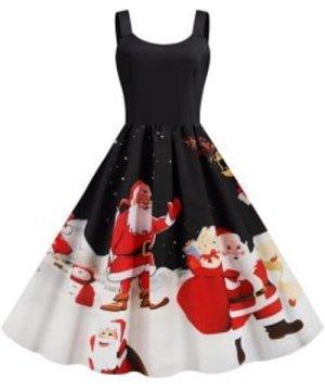 Christmas Santa Claus Snowflake Sleeveless Dress