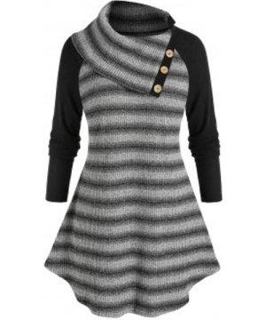 Plus Size Striped Raglan Sleeve Turndown Collar Tunic Sweater