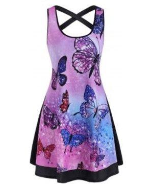 Butterfly Print Tie Dye Criss Cross Tank Dress