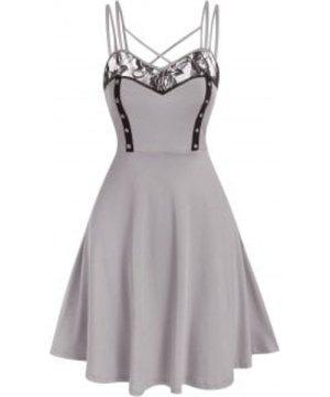 Crisscross Lace Insert Flare Dress