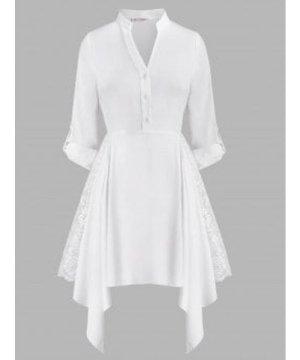Lace Panel Button Front Handkerchief Plus Size Shirt Dress