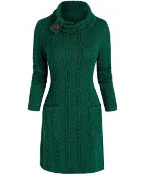 Turtleneck Pockets Cable Knit Mini Sweater Dress