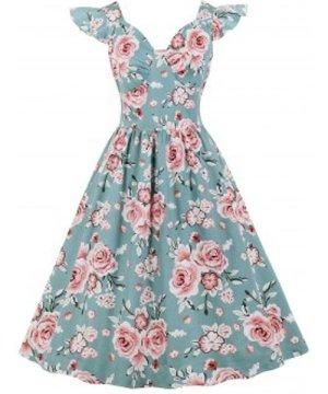 Floral Sweetheart Neck Retro Dress