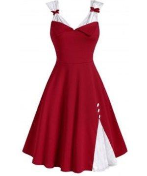 Mock Buttons Bowknot Christmas Velvet Panel Dress