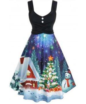 Plus Size Christmas Tree Print Flare Dress